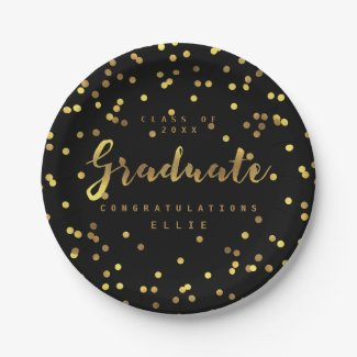 Classy Graduate Faux Gold Foil Confetti Black Paper Plate