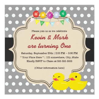 Classy Gray Polka Dots Rubber Ducky Twins Birthday Card