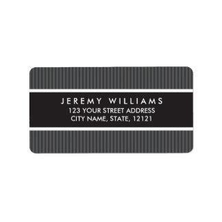 Classy gray stripes return address address label