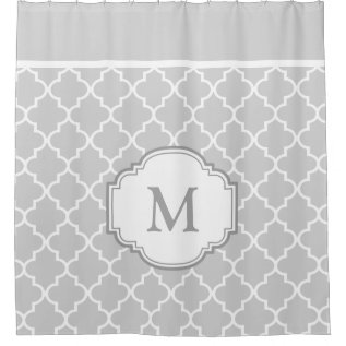 Classy Gray White Moroccan Tile Pattern Monogram Shower Curtain at Zazzle