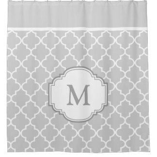 Classy Gray White Moroccan Tile Pattern Monogram Shower Curtain