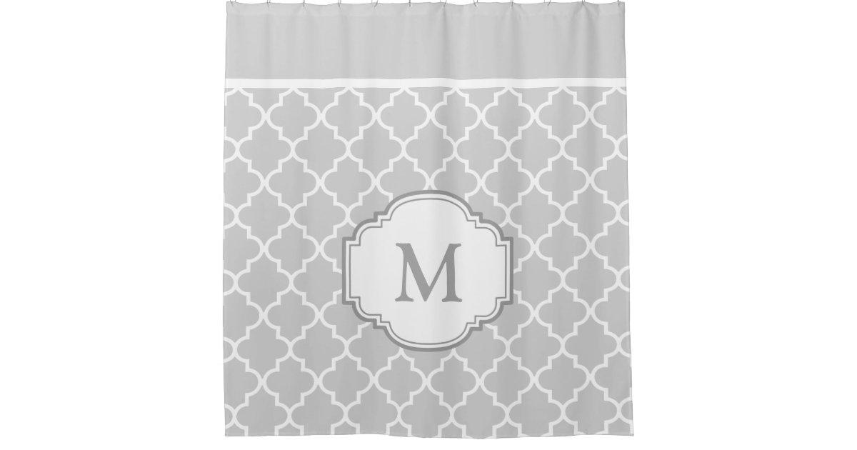 Classy Gray White Moroccan Tile Pattern Monogram Shower Curtain ...