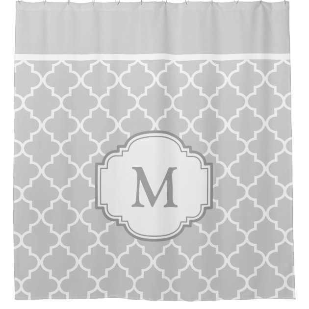 classy gray white moroccan tile pattern monogram shower curtain zazzlecom