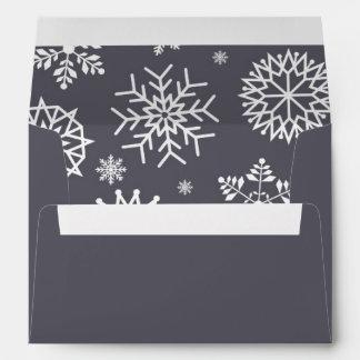 Classy Gray Winter Snowflake Christmas Holidays Envelope