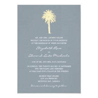 Classy Gray Yellow Palm Tree Destination Wedding Card