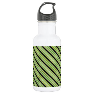 Classy Green and Black Stripe 18oz Water Bottle