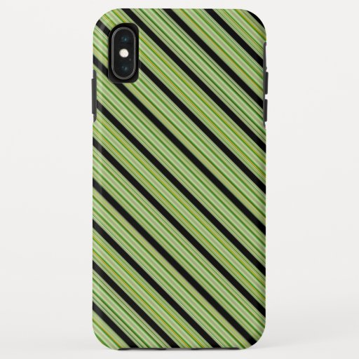 Classy Green and Black Stripe iPhone XS Max Case