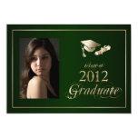 """Classy Green and Gold 2012 Graduate Photo Invite 5"""" X 7"""" Invitation Card"""