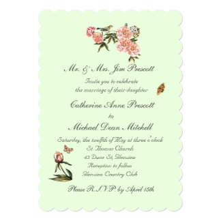 Classy Green and Pink Flower Wedding/Shower Invite