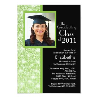 Classy Green & Black Graduation Invitation Photo