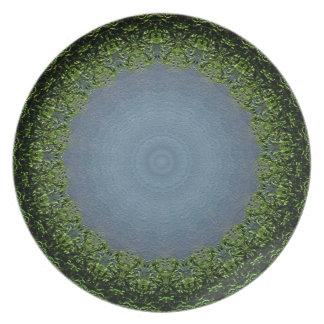 Classy Green Blue Decorative Melamine Dinner Plate