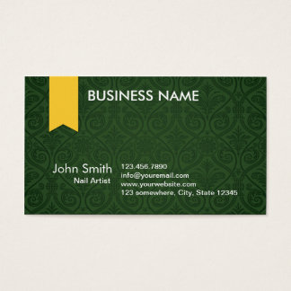 Classy Green Damask Nail Art Business Card