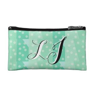 Classy Green Dots and Spots Monogram Pencil Case Makeup Bags