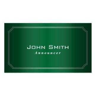 Classy Green Framed Announcer Business Card