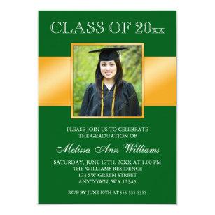 green graduation invitations zazzle