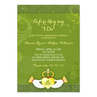 Classy Green Irish Wedding Rehearsal Dinner Card at Zazzle