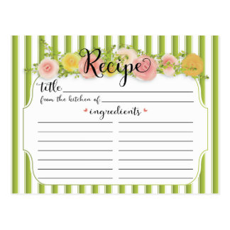 Classy Green Stripes with Roses Recipe Card