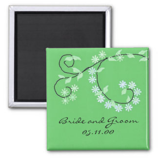 Classy Green Vines and Flowers 2 Inch Square Magnet