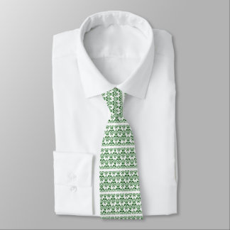 CLASSY GREEN WHITE DAMASK Floral Tie