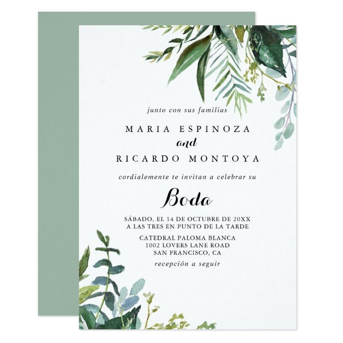 Classy Greenery Tropical Leaves Spanish Wedding Invitation Zazzle Com Tropical leaves invitation vectors (4,407). zazzle