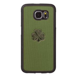 Classy grundge Irish lucky shamrock Wood Phone Case
