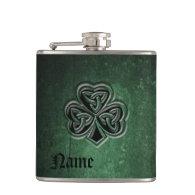Classy grunge Irish lucky shamrock personalized Hip Flasks