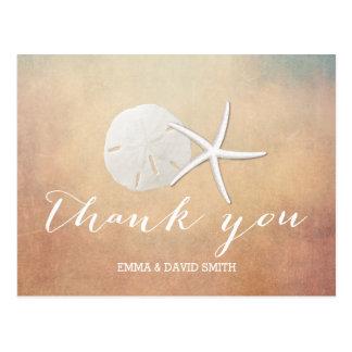 Classy Grunge Starfish & Sand Dollar Thank You Postcard