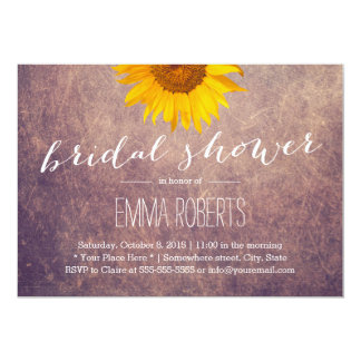 Classy Grunge Sunflower Bridal Shower Card