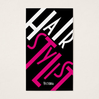 Classy Hair Stylist Fuchsia, Black and White Business Card