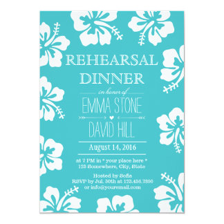 Classy Hibiscus Flowers Turquoise Rehearsal Dinner Card