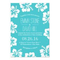 Classy Hibiscus Flowers Turquoise Wedding Invitation