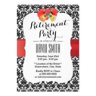 Classy Hibiscus & Ukulele Damask Retirement Party Custom Invitations