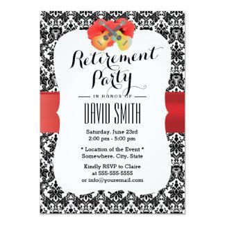 """Classy Hibiscus & Ukulele Damask Retirement Party 5"""" X 7"""" Invitation Card"""