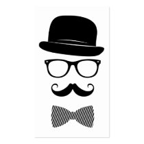 funny, hipster, mustache, boho, glasses, bow-tie, classy, vintage, fashion, icons, indie, style, hat, geek, mustache and glasses, geeky, business card, Business Card with custom graphic design