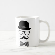 classy, hipster, fashion, indie, black, mustache, vintage, bow-tie, swag, style, hat, funny, grunge, glasses, mug, Caneca com design gráfico personalizado