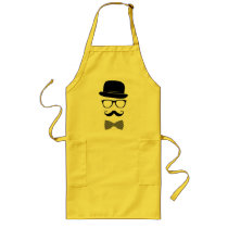 classy, hipster, fashion, indie, black, mustache, vintage, bow-tie, swag, style, hat, funny, grunge, glasses, apron, Apron with custom graphic design