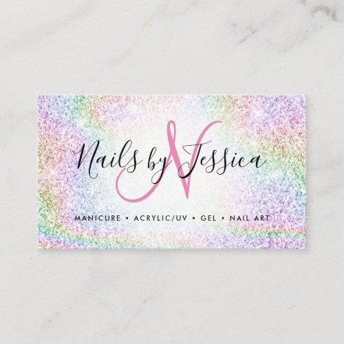 Classy holographic rainbow glitter elegant script business card