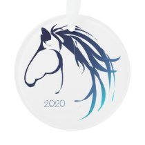 Classy Horse Head Logo Blue Shades for Christmas Ornament