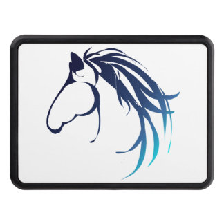 Classy Horse Head Logo in Blue shades Trailer Hitch Cover