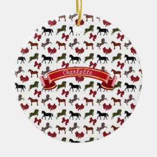 classy Horses  and Bows Pattern Custom Ceramic Ornament