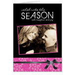 Classy Hot Pink and Black Holiday Photo Card