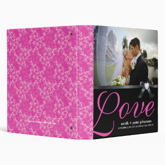 Classy Hot Pink and Black Wedding Photo Album 3 Ring Binder