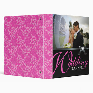 Classy Hot Pink and Black Wedding Photo Album Binder