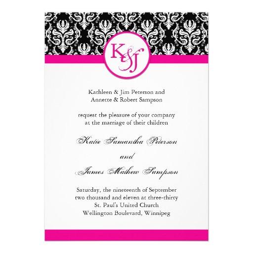 Classy hot pink damask wedding invitation template 5quot x 7 for Damask wedding invitations template free