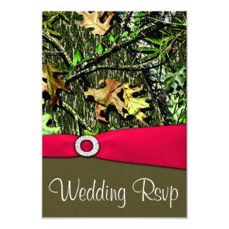 "Classy Hot Pink Hunting Camo Wedding RSVP Cards 3.5"" X 5"" Invitation Card"