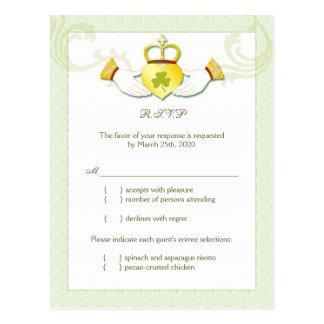 Classy Irish Wedding RSVP n Menu Choice (4.25x5.6) Post Cards
