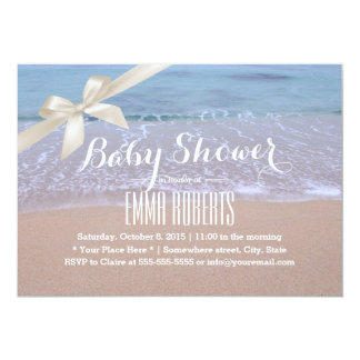 Classy Ivory Ribbon Beach Theme Baby Shower 5x7 Paper Invitation Card