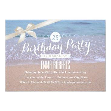 myinvitation Classy Ivory Ribbon Beach Theme Birthday Party Card