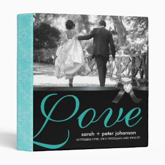 Classy Jade and Black Wedding Photo Album 3 Ring Binder