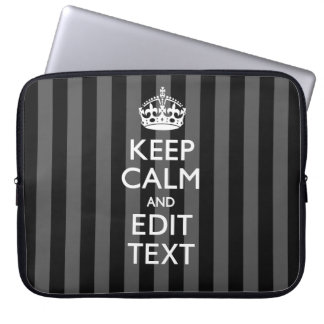 Classy KEEP CALM AND Your Text on Black Stripes Laptop Sleeve